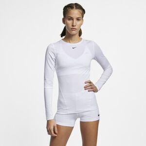 Nike Pro Women's Long-Sleeve Mesh Top - White  - White - Size: Medium