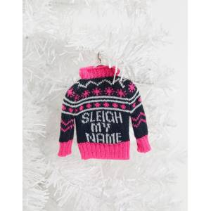 Typo Christmas decoration knitted jumper with slogan sleigh my name-Multi  - unisex - Multi - Size: No Size
