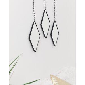 Umbra set of 3 dimond shaped mirrors in black-Multi