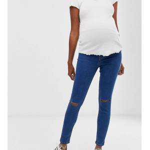 New Look Maternity over bump ripped jeggings in mid blue  - female - Blue - Size: 10