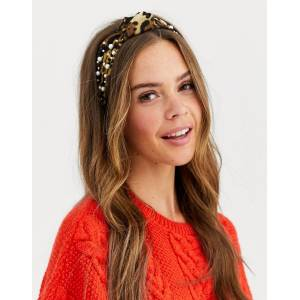 ASOS DESIGN knot headband in leopard print with pearl embellishment-Multi  - female - Multi - Size: No Size
