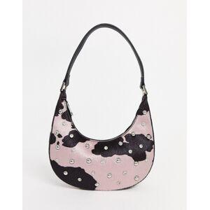 ASOS DESIGN 90s hobo shoulder bag in cow with diamante stud detail-Multi