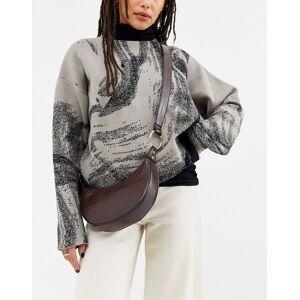 ASOS DESIGN curved hobo cross body bag in croc-Brown