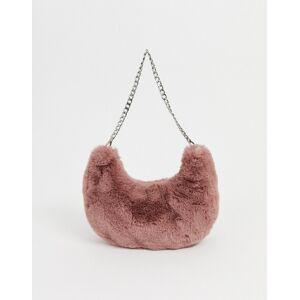 ASOS DESIGN fur 90s hobo shoulder bag-Beige