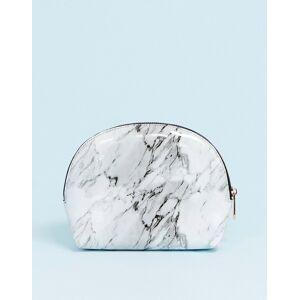 ASOS DESIGN half moon make-up bag in marble-White