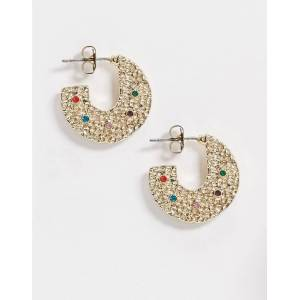 Pieces chunky hoop earrings with rainbow stones in gold  - female - Gold - Size: One Size