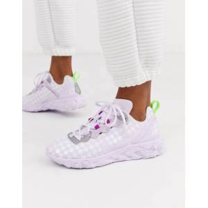 Nike Lilac Chequered React Element 55 Trainers-Purple