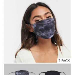 Skinnydip Exclusive 2 pack face covering with adjustable straps in plain black and tie dye print  - female - Black - Size: No Size