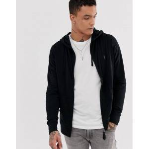 AllSaints Brace zip through hoodie with ramskull in black  - male - Black - Size: Extra Small