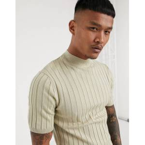 ASOS DESIGN knitted muscle fit rib turtle neck t-shirt in oatmeal-Beige  - male - Beige - Size: Medium