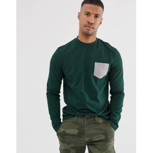 ASOS DESIGN long sleeve t-shirt with contrast pocket in green