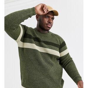 ASOS DESIGN Plus chunky ribbed jumper in khaki twist-Green  - male - Green - Size: 6XL Reg