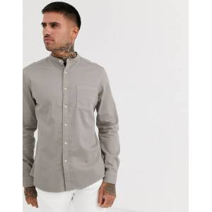 ASOS DESIGN stretch slim organic denim shirt in grey with grandad collar  - male - Grey - Size: Extra Large