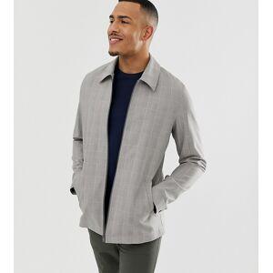 ASOS DESIGN Tall zip through jacket in grey check