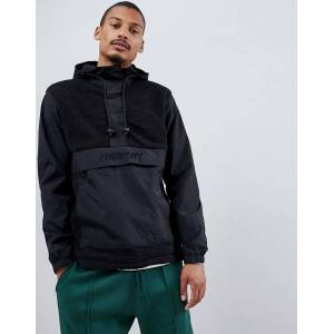 Fairplay overhead nylon and sherpa jacket with hood in black