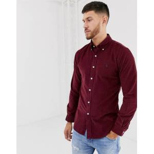 Ralph Lauren Polo Ralph Lauren slim fit cord shirt in burgundy with player logo-Red