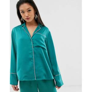 Aeryne pyjama top with contrast piping-Green