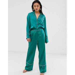 Aeryne pyjama trousers with contrast piping-Green