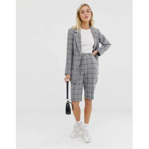ASOS DESIGN city suit shorts in khaki houndstooth check-Multi