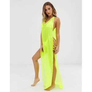 ASOS DESIGN maxi beach dress with lattice side in neon yellow