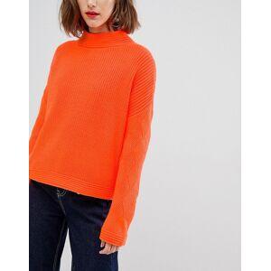 ASOS DESIGN neon jumper with stitch sleeve detail-Orange