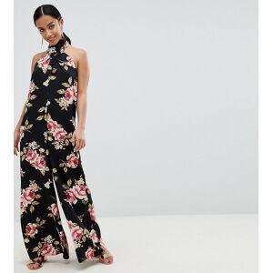 ASOS Petite ASOS DESIGN Petite Cross Front Jumpsuit With Wide Leg In Floral Print-Multi  - female - Multi - Size: 8
