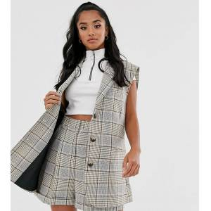 ASOS Petite ASOS DESIGN Petite sleeveless suit blazer in check-Multi  - female - Multi - Size: 8