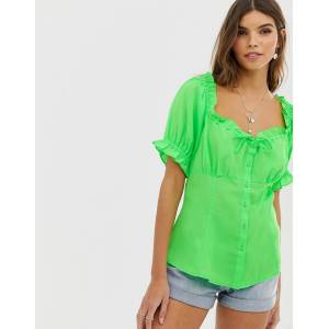 ASOS DESIGN square neck top with ruffle detail in neon-Green