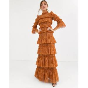 By Malina Carmine layered lace maxi dress in rust-Brown  - female - Brown - Size: Medium