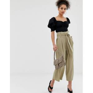 C by Cubic paperbag waist wide leg trousers in khaki-Blue
