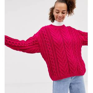 COLLUSION cable knit jumper-Pink