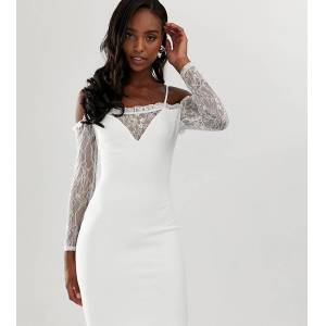 John Zack Tall square neck bodycon dress with lace sleeve in white  - female - White - Size: 6