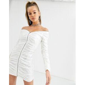 Kikiriki off shoulder zip through ruched vinyl bodycon dress in white  - female - White - Size: Large