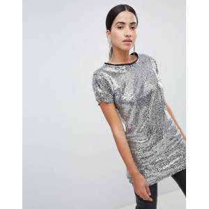 Lasula sequin longline t-shirt in silver-Pink