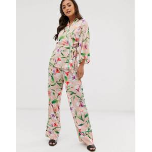 Liquorish wide leg trousers in floral print with green piping co ord-Multi  - female - Multi - Size: 16