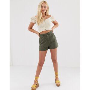 Miss Selfridge cargo shorts in khaki-Green
