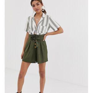 Miss Selfridge linen khaki tie waist short co-ord-Green