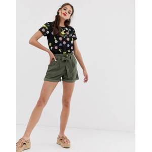Miss Selfridge shorts with belt in khaki-Green