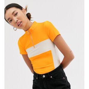 Monki zip neck colourblock top in orange