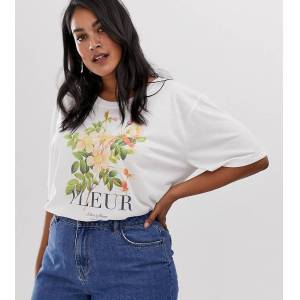 Neon Rose Plus relaxed t-shirt with fleur graphic-Cream