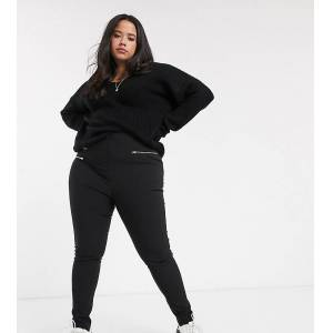 New Look Plus New Look Curve zip detail trousers in black