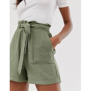 New Look shorts with paperbag waist in khaki-Green