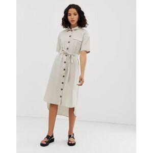 Noisy May button through utility shirt dress-Multi