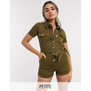 Parisian Petite utility tie waist playsuit in khaki-Green  - female - Green - Size: 8
