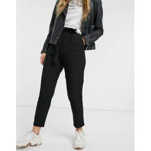 Pieces Albia high waisted tie waist trousers-Black