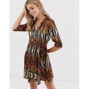 QED London collared wrap dress in tiger print-Multi