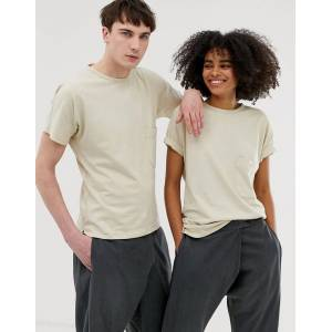 Seeker unisex pocket t-shirt in organic cotton-Beige