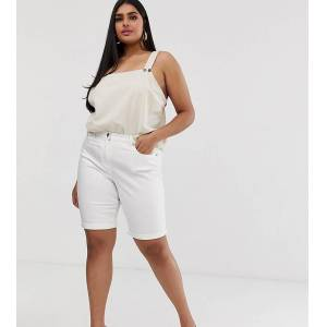 Simply Be longline denim shorts in white