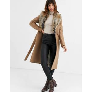 Ted Baker Corinna long wrap coat with faux fur collar-Beige