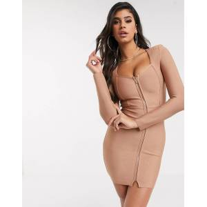 The Girlcode bandage zip front mini dress in mocha-Brown  - female - Brown - Size: 10